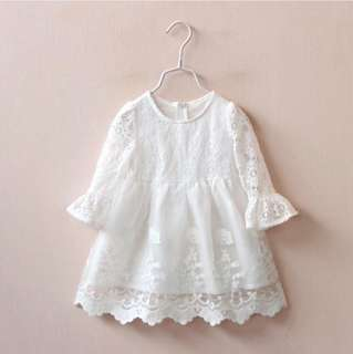Girls hollow lace skirt long-sleeved white dress