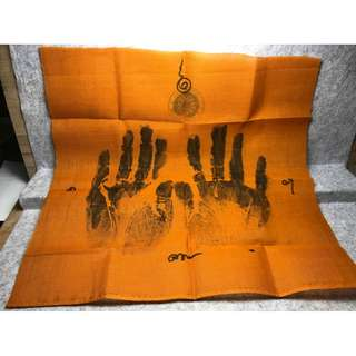 LP Eaum of Samnak Patipatam Suen Phra Talingchan BE2559 Special Twin Palm Phayant Of Jevon Kassa Cloth With Hand Yants & Temple Stamp