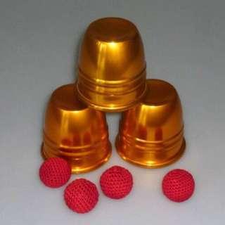 Professional Cups and Balls Aluminum Golden