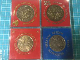 Singapore Commemorative Cupro Nickel Coin $5 Year 1981-84 (4pcs)