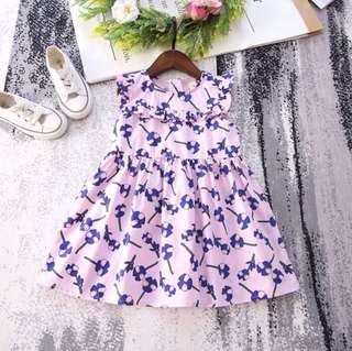 Girls Lace Sleeveless Sundress Sweet Floral Dress