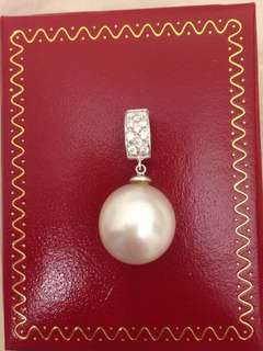 13mm南洋白珍珠鑽石吊18K South sea Pearl diamond Pendant