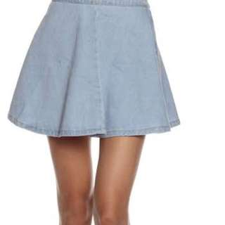 American apparel inspired denim skater skirt
