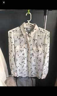 Long sleeves blouse with bird print