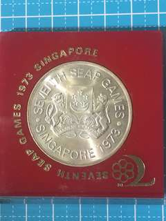 Singapore SEAP Games Silver Coin $5 Year 1973