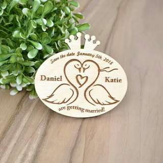 Swan Wedding Save the Date  Magnet, Personalized Wood Magnets - Unique Save the Date