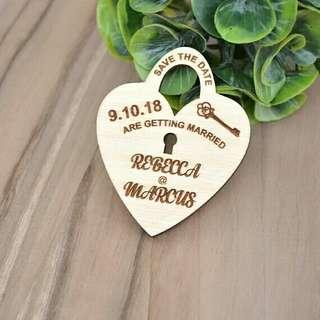 Wedding Wooden Fridge Magnet - Laser Engraved Wood - Hear Key