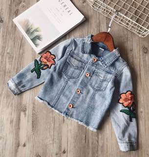 Girls Flower Embroidery Long Sleeve Jacket