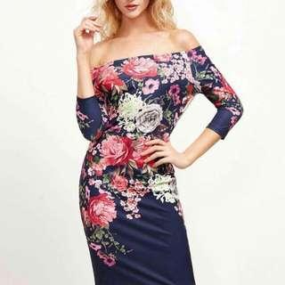 3D FLORAL off shoulder dress