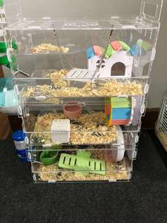 Hamster Cage / Hamster House Luxury / Rumah Hamster / Hamster Arcylic Cage House 3 tier