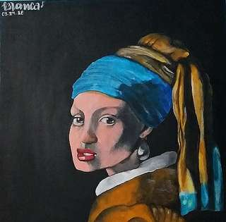 Girl with the Pearl Earring (Different Artstyle) - Acrylic Canvas Painting
