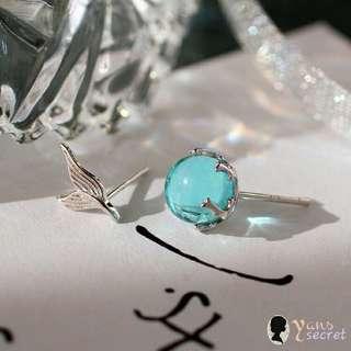 日韓款 海洋系列 925純銀 美人魚尾泡泡耳針