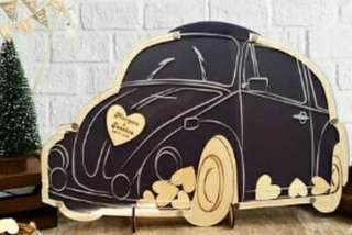 Beetle Wedding Guest Book Alternatives Bugs Drop Top Wooden Hearts Personalized Vintage Camper Anniversary Party