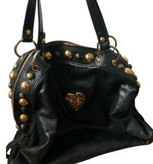 Price Reduced! Gucci Rare Babouska Studded with Heart Emblem Black Lambskin Leather Satchel