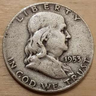 1953 USA Silver Half Dollar Coin