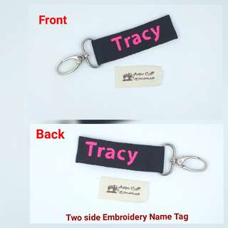 Name Tag - Double Side with Embroidery Initial