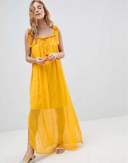 [ASOS] [MW by Matthew Williamson] Tassle Tie Maxi Beach Dress - Yellow Size S