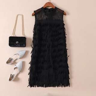 Black dress with streamers for dinner