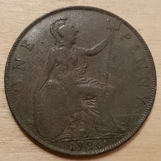 1926 Great Britain King George V Penny Coin