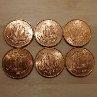 1967 Great Britain Queen Elizabeth II Half Penny Coins