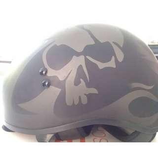 Matte Skull Half-helmet With Adjustable Windshield
