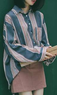 🚚 復古條紋襯衫(零瑕疵)