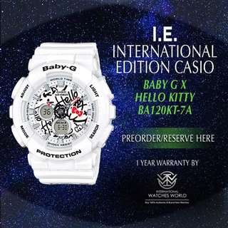 CASIO INTERNATIONAL EDITION BABY G X HELLO KITTY BA120KT-7 LIMITED EDITION
