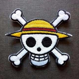 One Piece Logo Anime Skull Iron On Patch