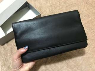 [NEW] Skagen Denmark Black Genuine Leather Anna-Marie Flap Clutch [全新] 歐洲丹麥品牌全真皮黑色手提包手攜袋