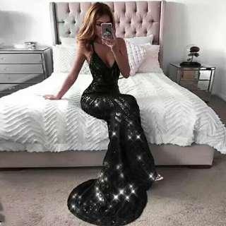 Custom made Glitter V Neck Dress