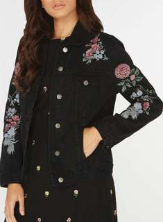 Dorothy Perkins Denim Jacket with Floral Embroidery