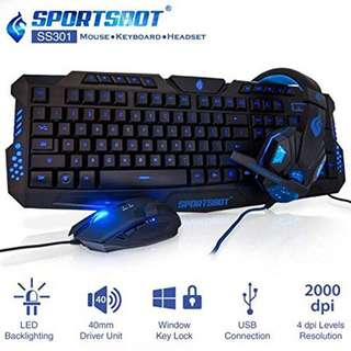 SportsBot SS301-BLU.V2 Blue LED Gaming Over-Ear Headset, Keyboard & Mouse Combo Set