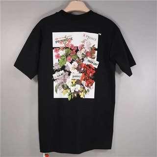 OFF-WHITE c/o VIRGIL ABLOH 18ss 後背花卉字母黑色短袖T恤,Oversized 版,XS-L碼,男女同款 $1790 保證100%Real &New
