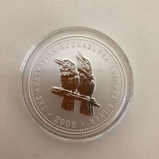 2006 kookaburra 1 oz silver coin
