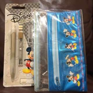 Disney Mickey Mouse pencil bag and stationery 筆袋連鉛芯筆
