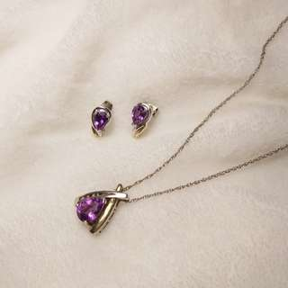 Amethyst - two tone earrings and necklace