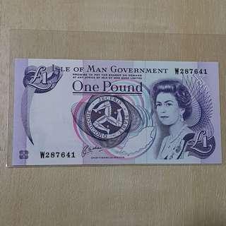 1990 Series Isle of Man Queen Elizabeth II 1 Pound Banknote