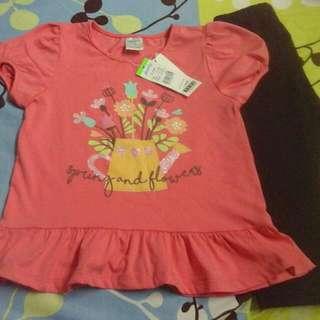 new girl set top blouse & legging pants brand anakku size 3 y