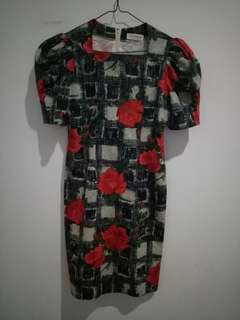Vintage red rose dress