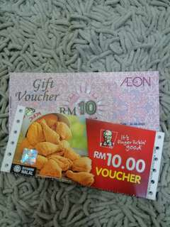 AEON & KFC Voucher for sale..
