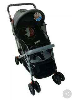 Gray stroller with mosquito net