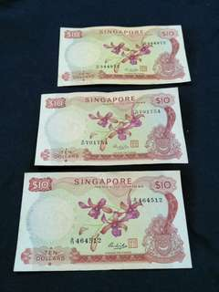 Old sg $10 notes 3pcs offer $78
