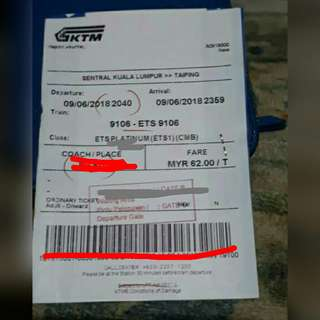 2 ETS TICKET (KL - TAIPING 09/06)