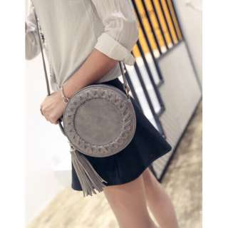 Y2265 Gray Boho Retro Round Sling Bag