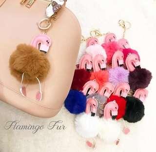 Elegant Flamingo Fur Keychain