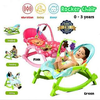 FREE POS Ready Stock 2 In 1 Baby Rocker Bouncer New Born Toddler Vibration Chair With Safety Belt Toys