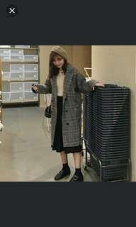 🚚 韓 格紋大衣外套