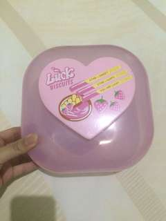 COOKIE CONTAINER TEMPAT KUE PINK CUTE LOVE