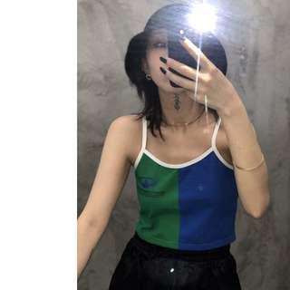 VM 2018新款 原創夏季80年代 復古藍綠接拼 短款細肩吊帶背心 2款