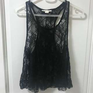 Forever 21 black lace racerback tank